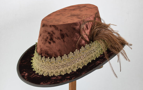 Crushed Velvet Tall Hat - Brown / Gold - Tall Toad
