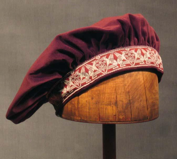 Cotton Velveteen Beret - Ruby Wine / Gargoyle - Tall Toad