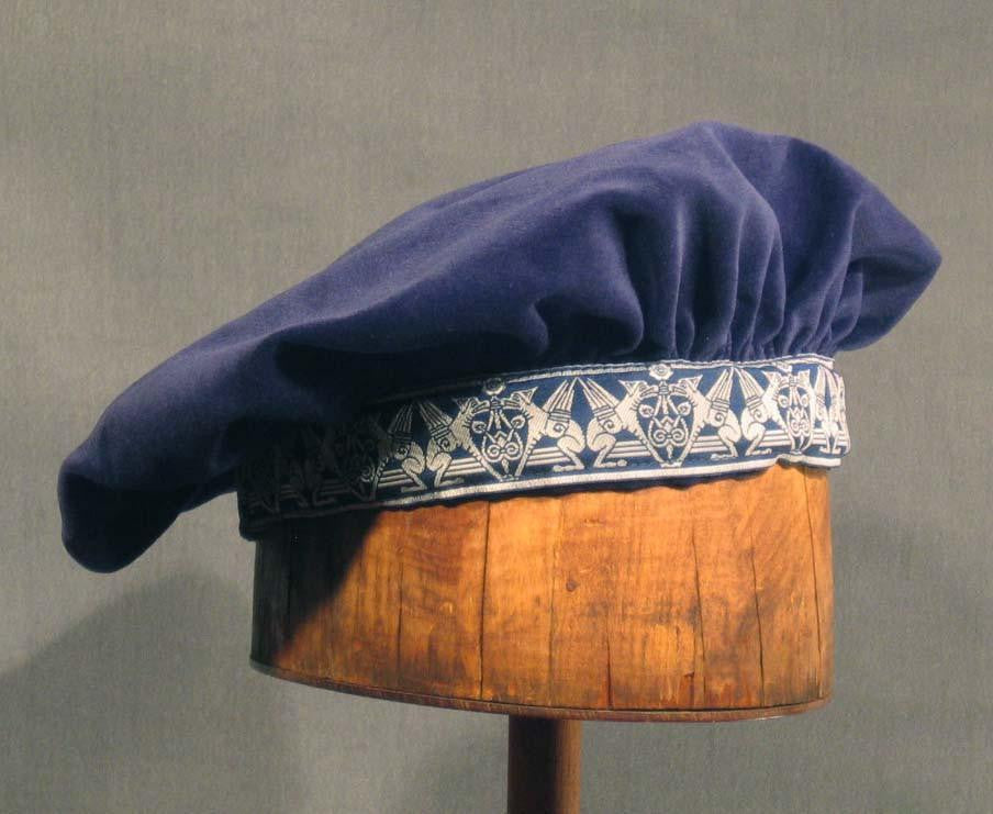 Cotton Velveteen Beret - Blue / Gargoyle - Tall Toad