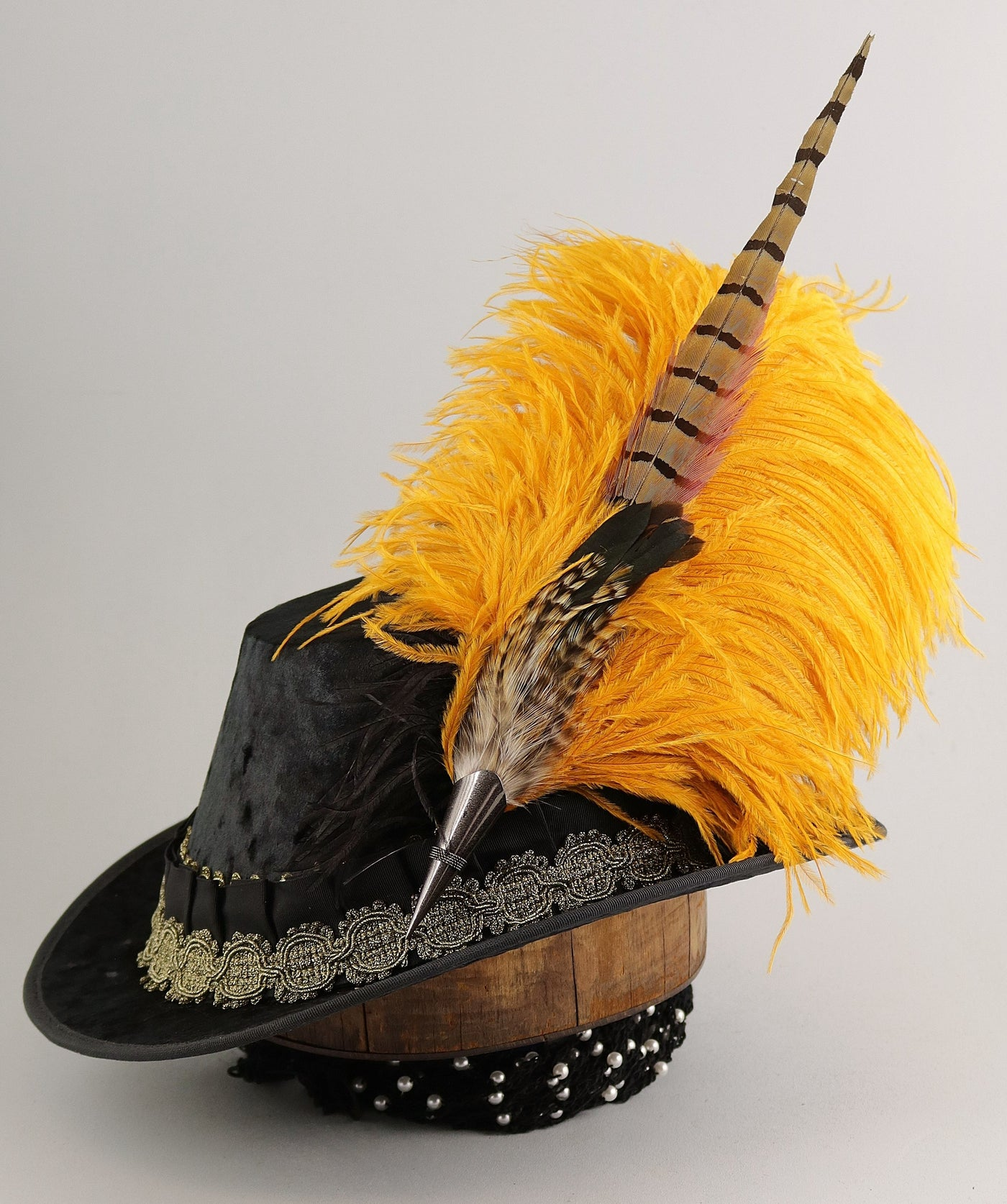 Crushed Velvet Tall Hat - Black Gold Medallion - Tall Toad
