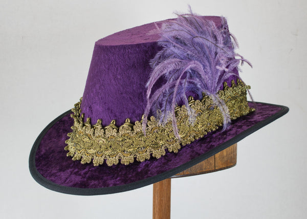 Crushed Velvet Tall Hat - Eggplant / Gold - Tall Toad
