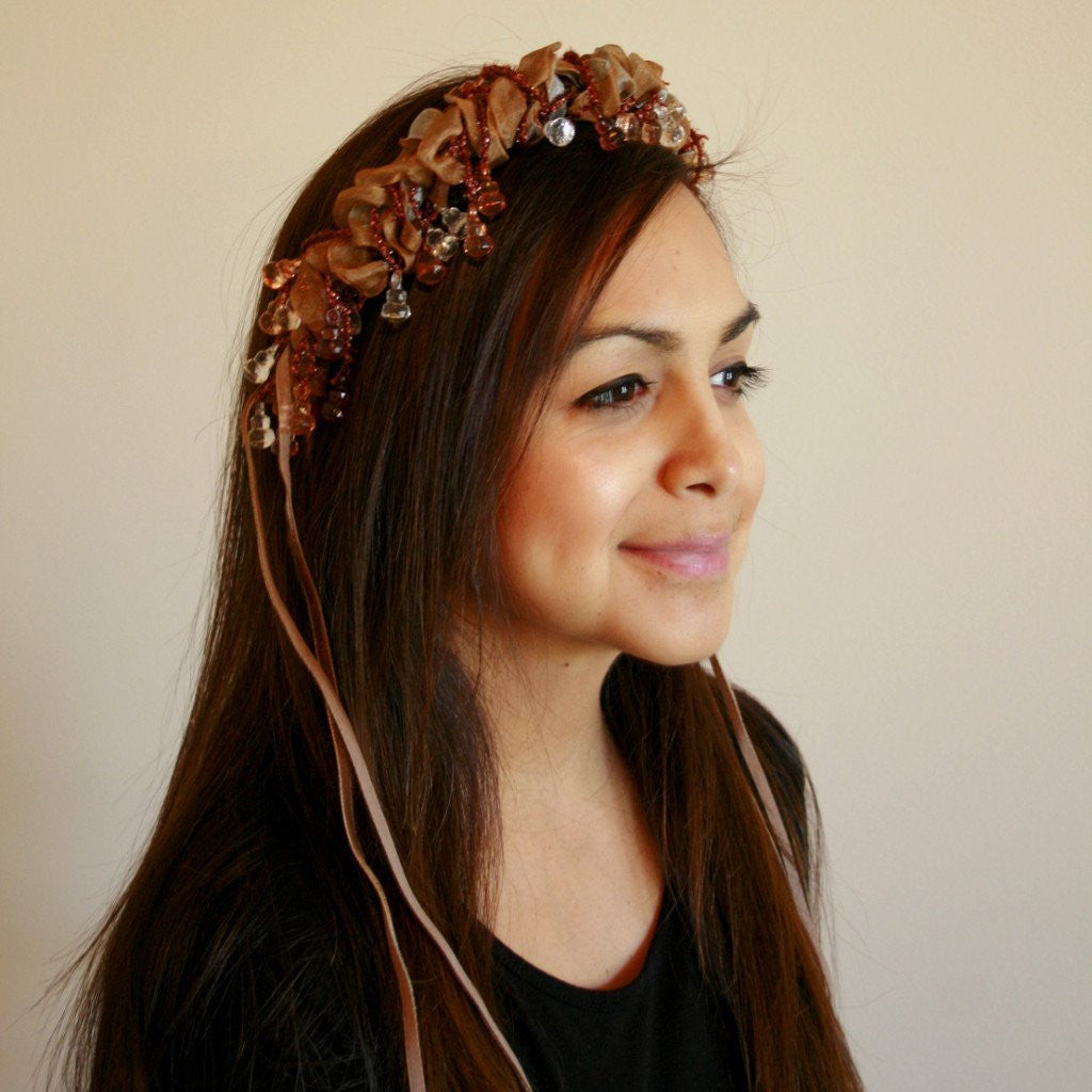 Beaded Headband - Espresso - Tall Toad