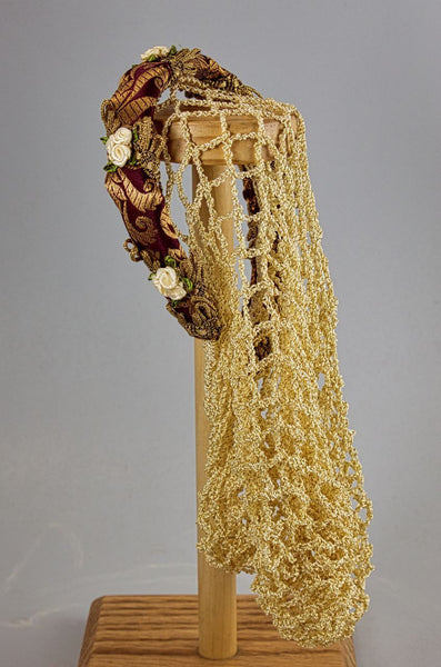 Headband Snood / Wine Gold Metallic / Hand Crocheted Cream Gold Snood - Tall Toad