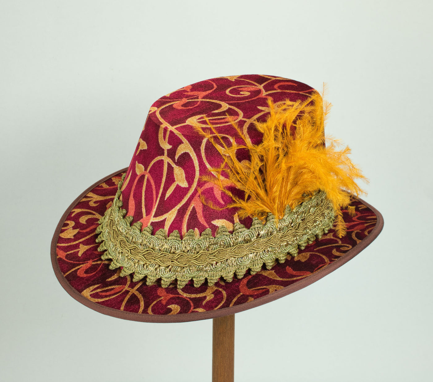 Tall Hat - Flame / Gold Smooth Velvet - Tall Toad