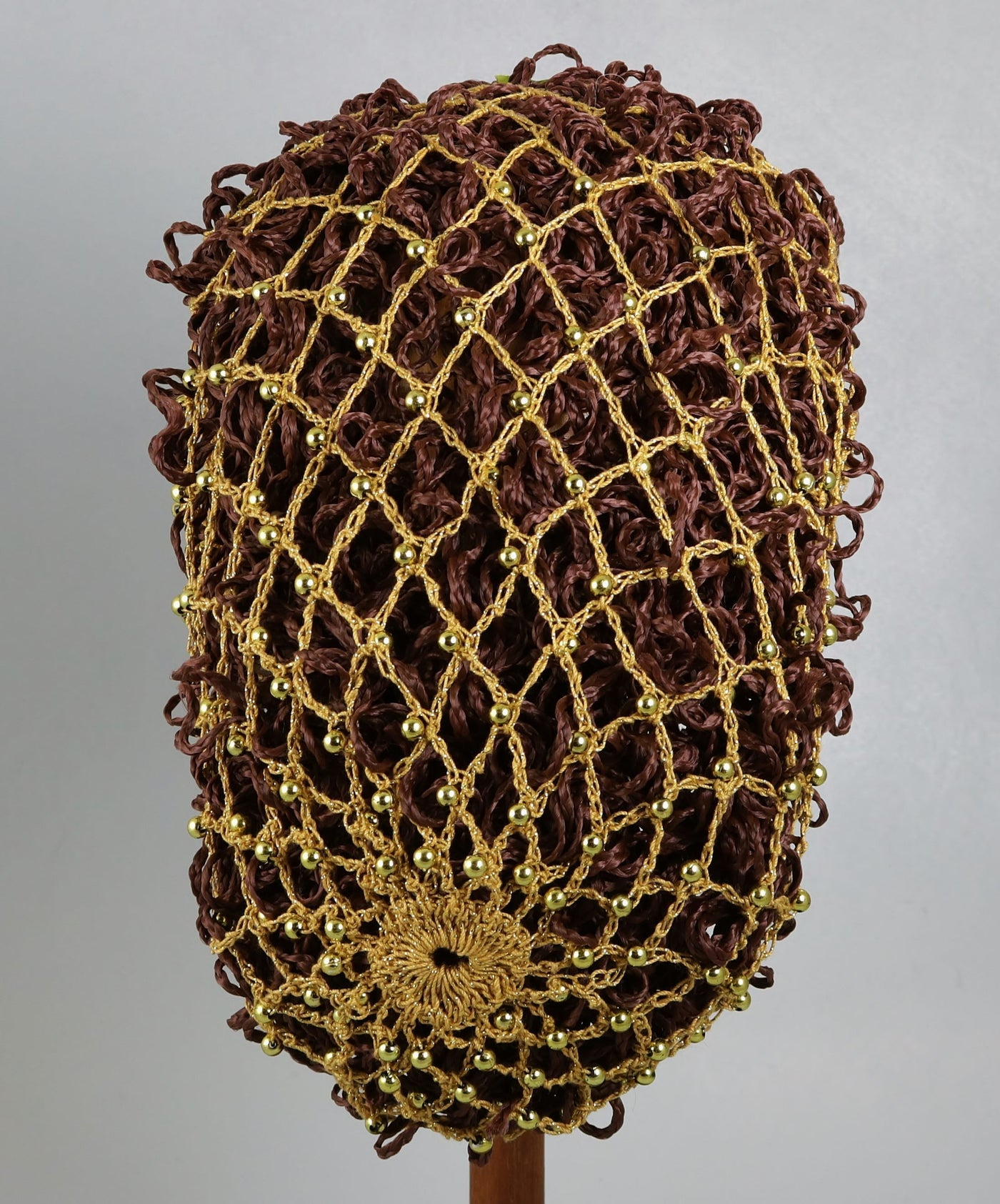 Hand Crocheted Snood - Gold Metallic / Gold Beads - Tall Toad