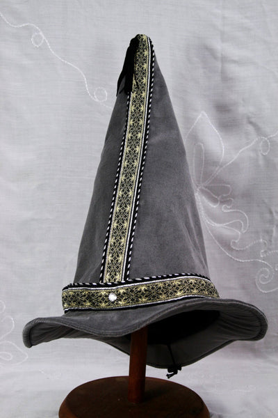 Cotton Velveteen Wizard Hat - Silver Gray / Silver Gold - Tall Toad