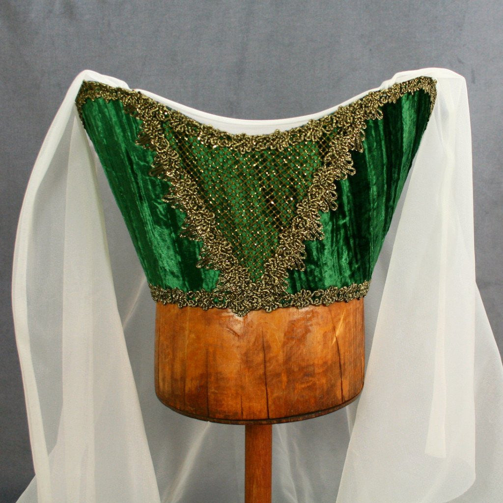 Horned Headdress - Green Velvet / Gold Trim / Ivory Veil - Tall Toad