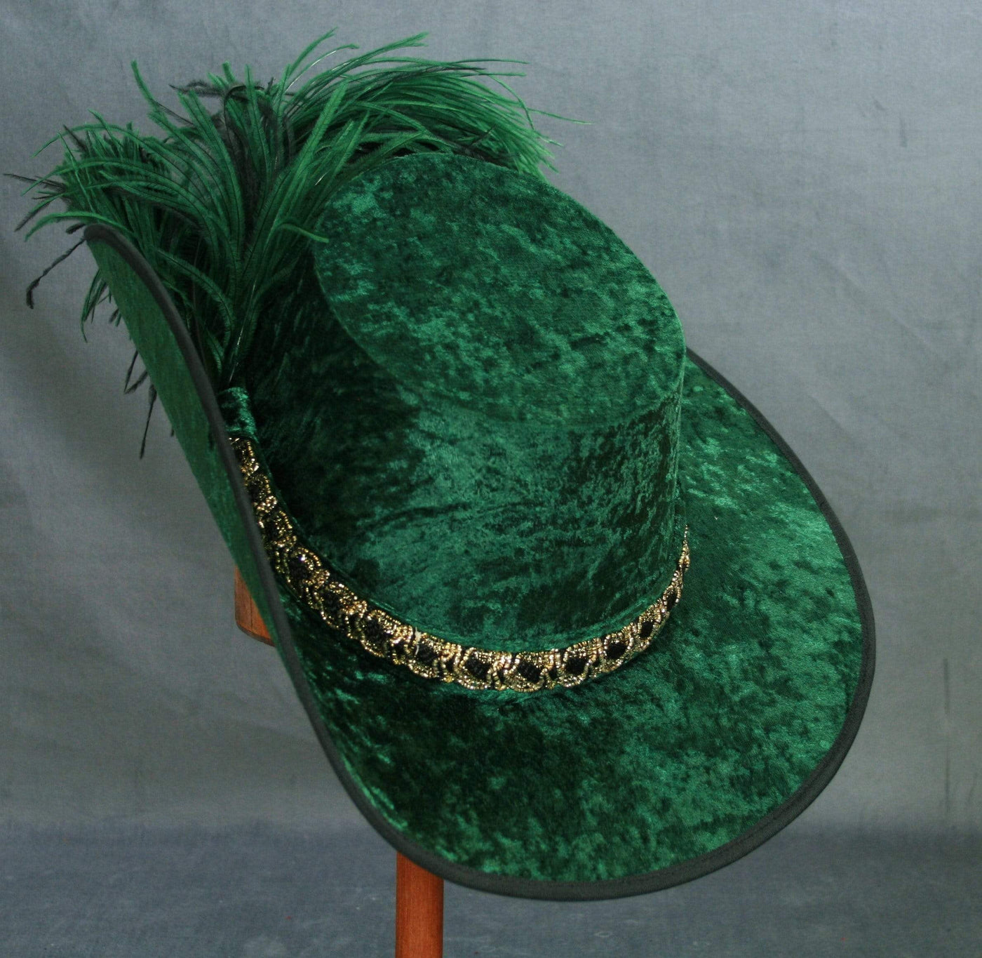 Crushed Velvet Cavalier - Forest Green / Black Gold / Green Feathers - Tall Toad