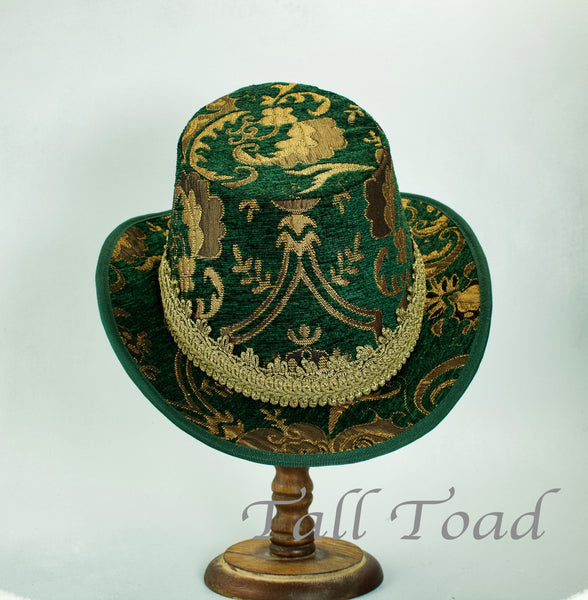 Tall Hat - Green Gold Brocade - Tall Toad