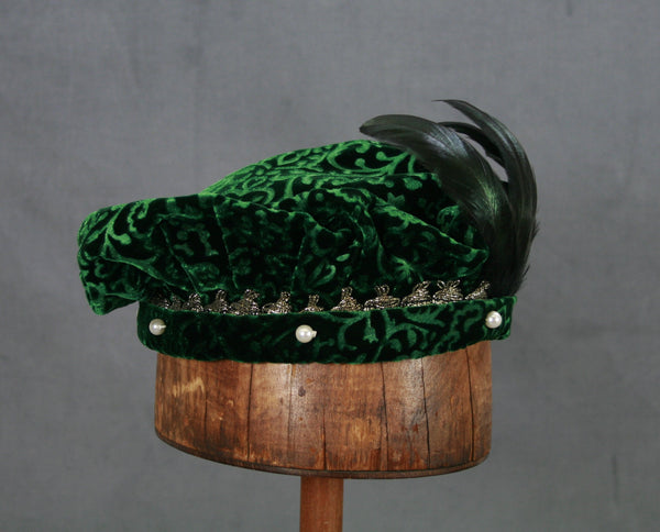 Pearled Willoughby Beret - Green / Gold - Tall Toad