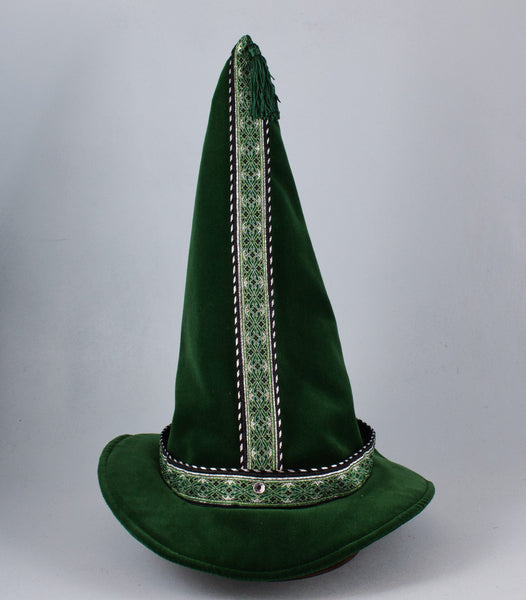 Cotton Velveteen Wizard Hat - Green / Silver Green - Tall Toad