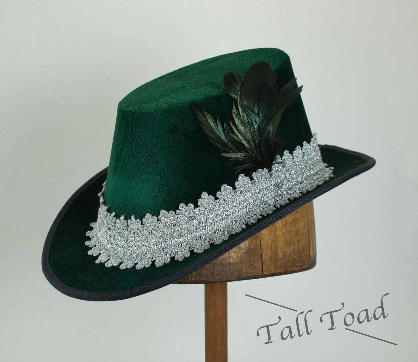 Tall Hat - Green / Silver Smooth Velvet (Medium Only) - Tall Toad