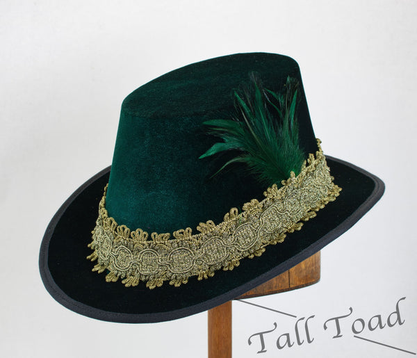 Tall Hat - Green / Gold Smooth Velvet - Tall Toad
