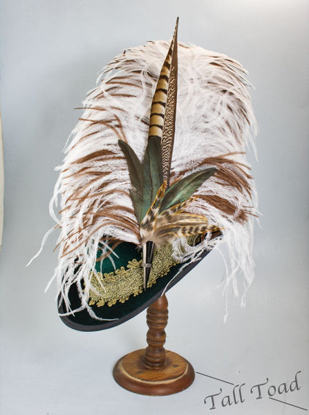 Long Fancy Feather Hat Pin - Natural Brown - Tall Toad