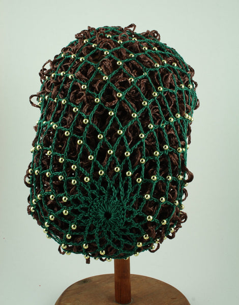 Hand Crocheted Snood - Green / Gold Beads - Tall Toad