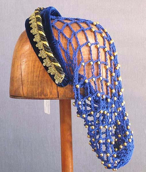 Large Headband Snood - Blue Velvet / Blue Snood / Gold Beads - Tall Toad