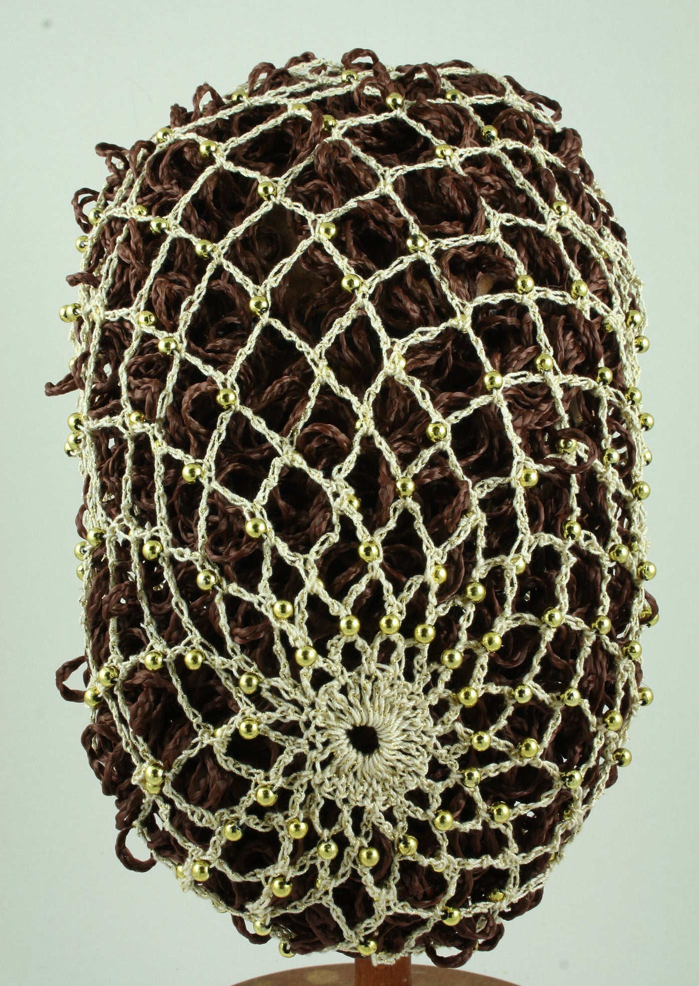 Hand Crocheted Snood - Ivory / Gold Metallic / Gold Beads - Tall Toad
