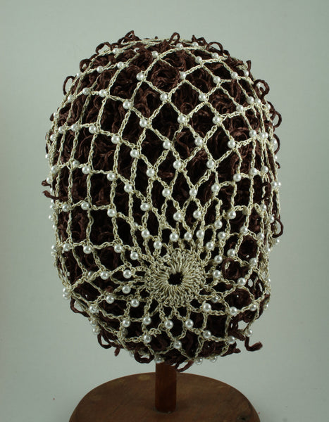 Hand Crocheted Snood - Ivory / Gold Metallic / Pearls - Tall Toad