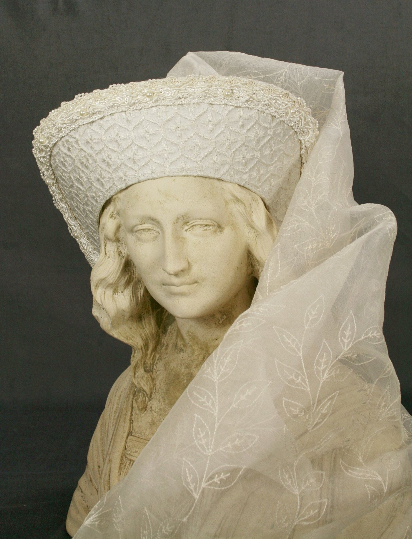 Large French Hood - Ivory Silk / Embroidered Silk Veil / Pearl Trim - Tall Toad