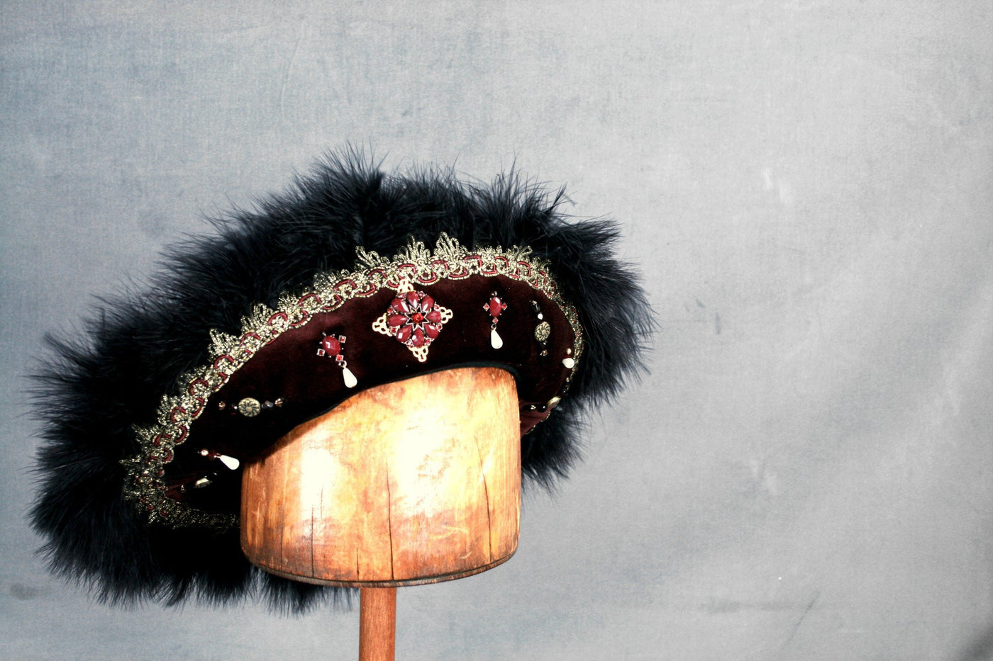 Henry VIII Flat Cap - Merlot /Black Marabou / Gold Trim / Jewels - Tall Toad
