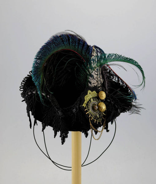 Mini Pirate Tricorn - Black / Black Lace / Nautical Medallion / Peacock Feathers