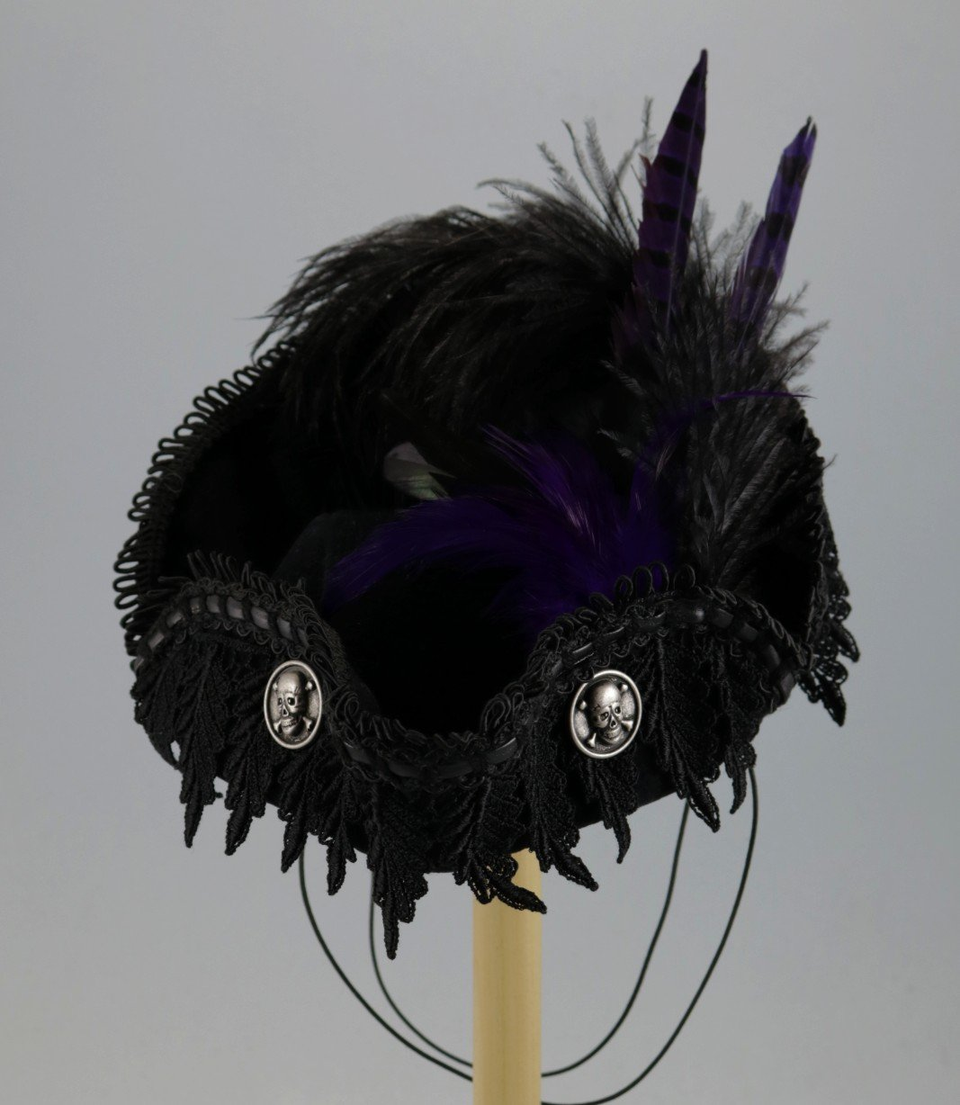 Black Mini Pirate Tricorn with purple feathers
