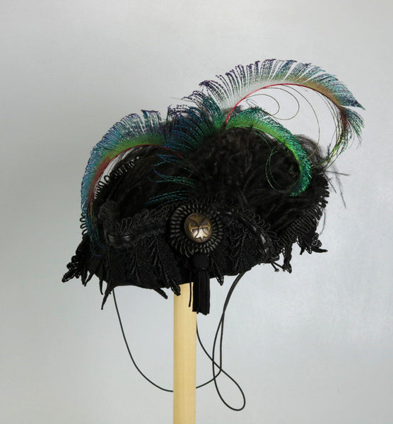 Black Mini Pirate Hat with Peacock Feathers