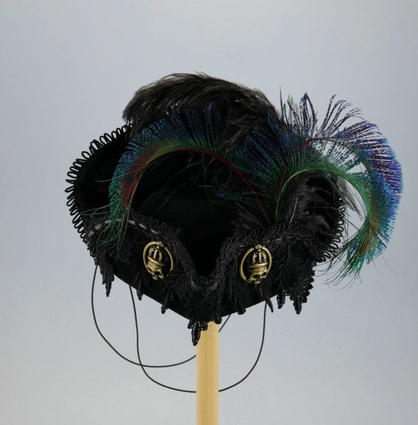 Mini Pirate Tricorn - Black / Black Lace / Gold Skull Buttons / Peacock Feathers