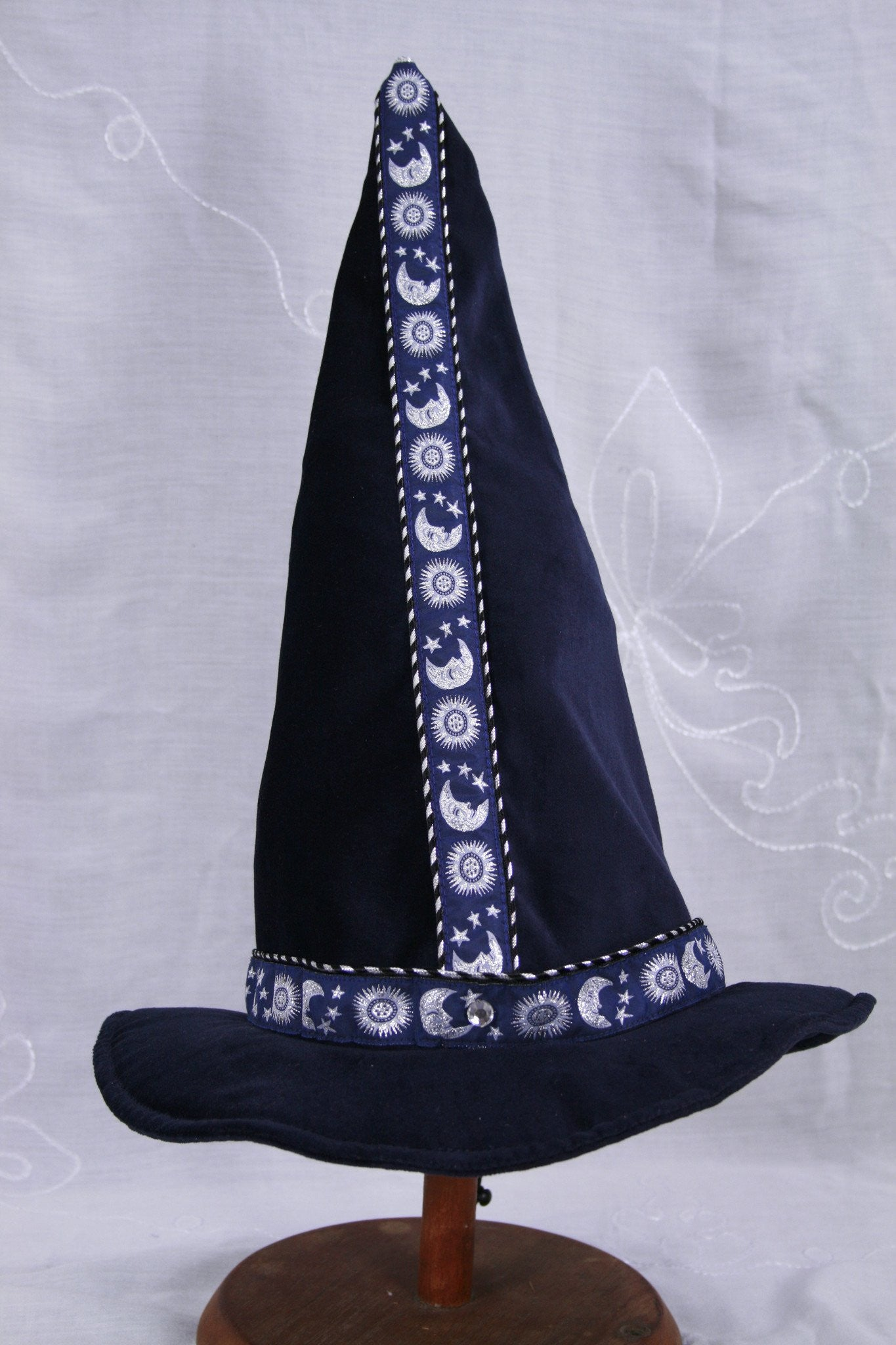 Cotton Velveteen Wizard Hat - Blue / Silver Moon and Stars - Tall Toad