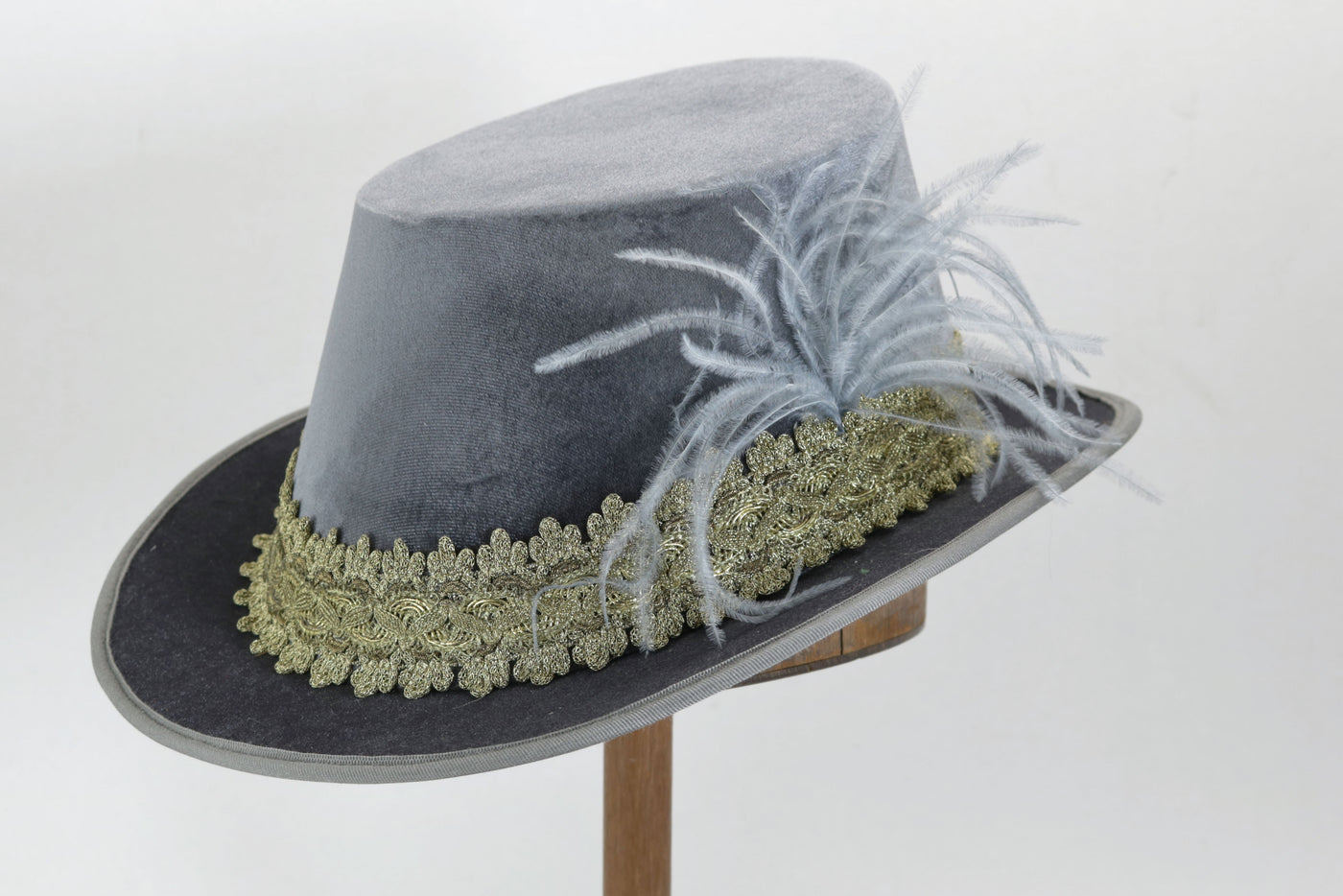 Tall Hat - Pewter / Gold Smooth Velvet - Tall Toad