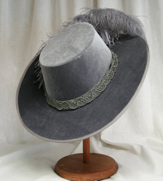 Smooth Velvet Cavalier - Pewter / Silver / Silver Feathers - Tall Toad