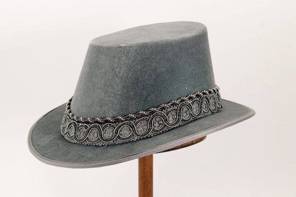 Tall Hat - Pewter / Silver Smooth Velvet - Tall Toad