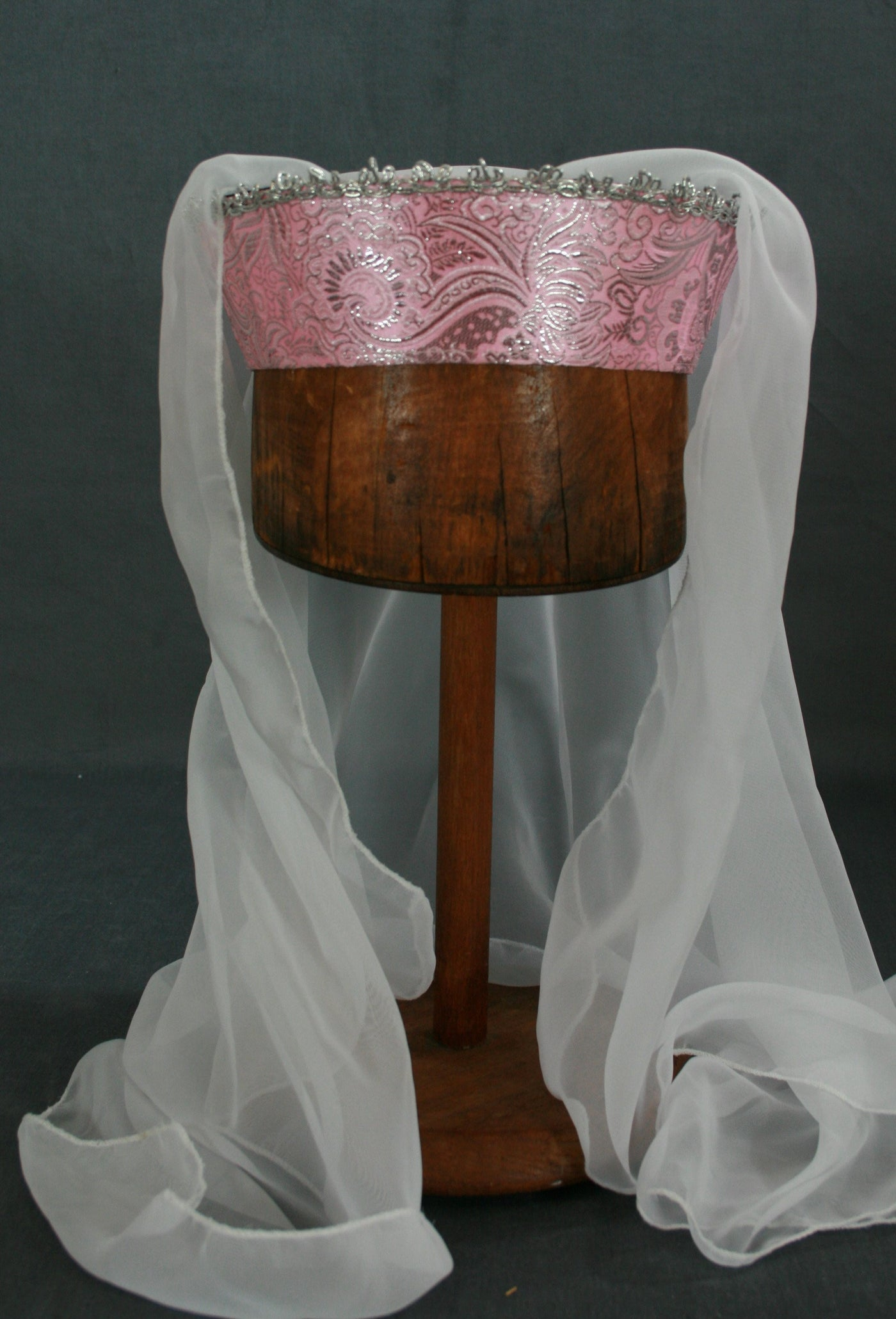 Circlet - Pink Brocade / Silver Trim / White Veil - Tall Toad