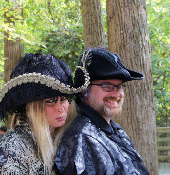 Pirate Hat - Black / Gold / Black Lace - Tall Toad
