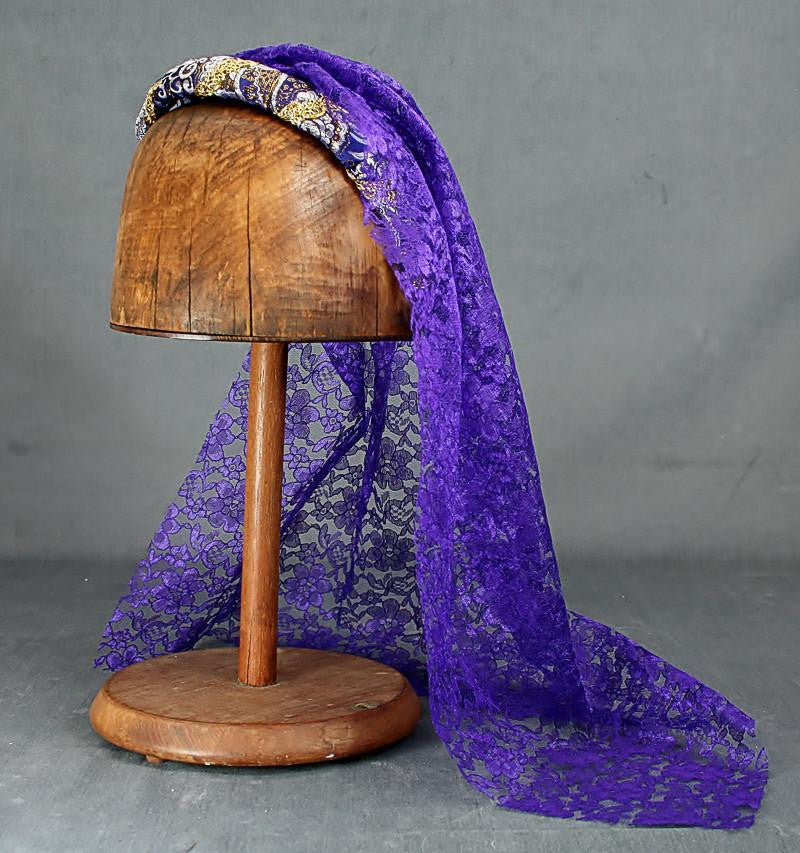 Fall Headband - Purple Gold / Purple Lace Veil - Tall Toad