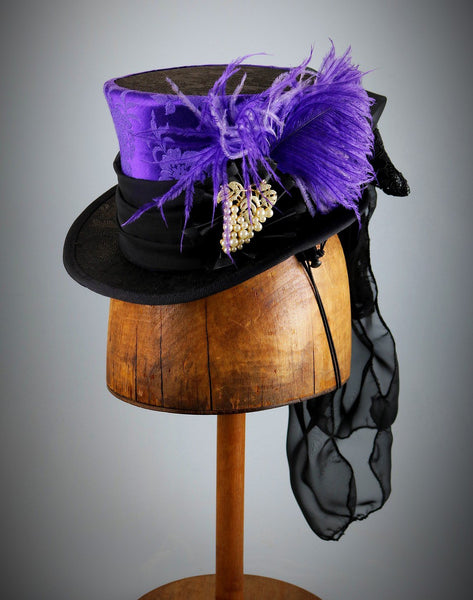 Mini Top Hat - Purple Black Brocade / Ribbon Cockade / Grape Brooch