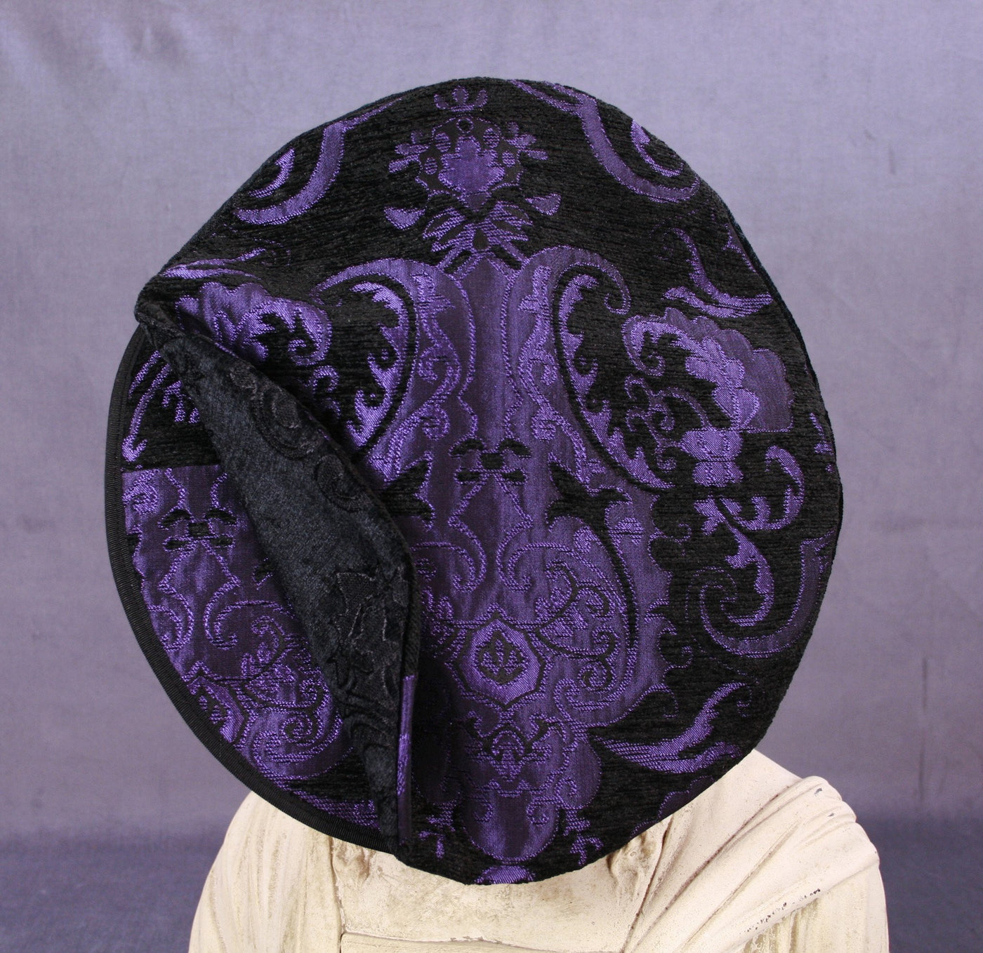 Flat Cap - Purple Black Metallic / Black Chenille - Tall Toad