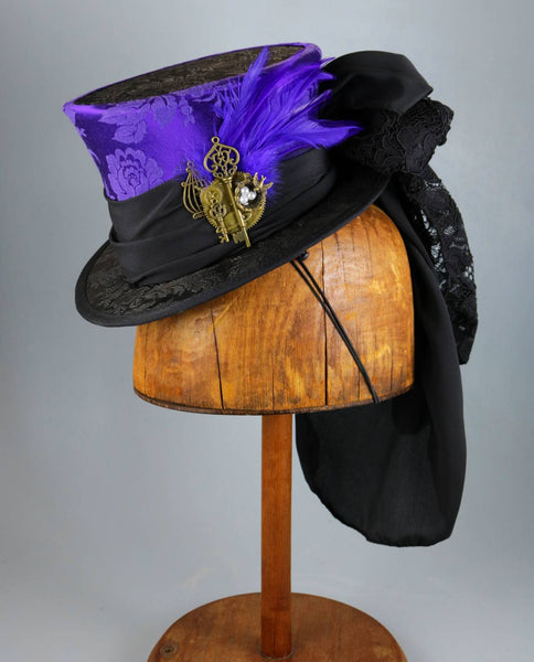 Mini Top Hat - Purple Black Brocade / Black Band / Bird's Nest Steampunk Decoration