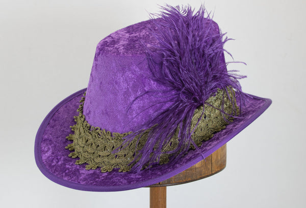 Crushed Velvet Tall Hat - Purple / Gold - Tall Toad