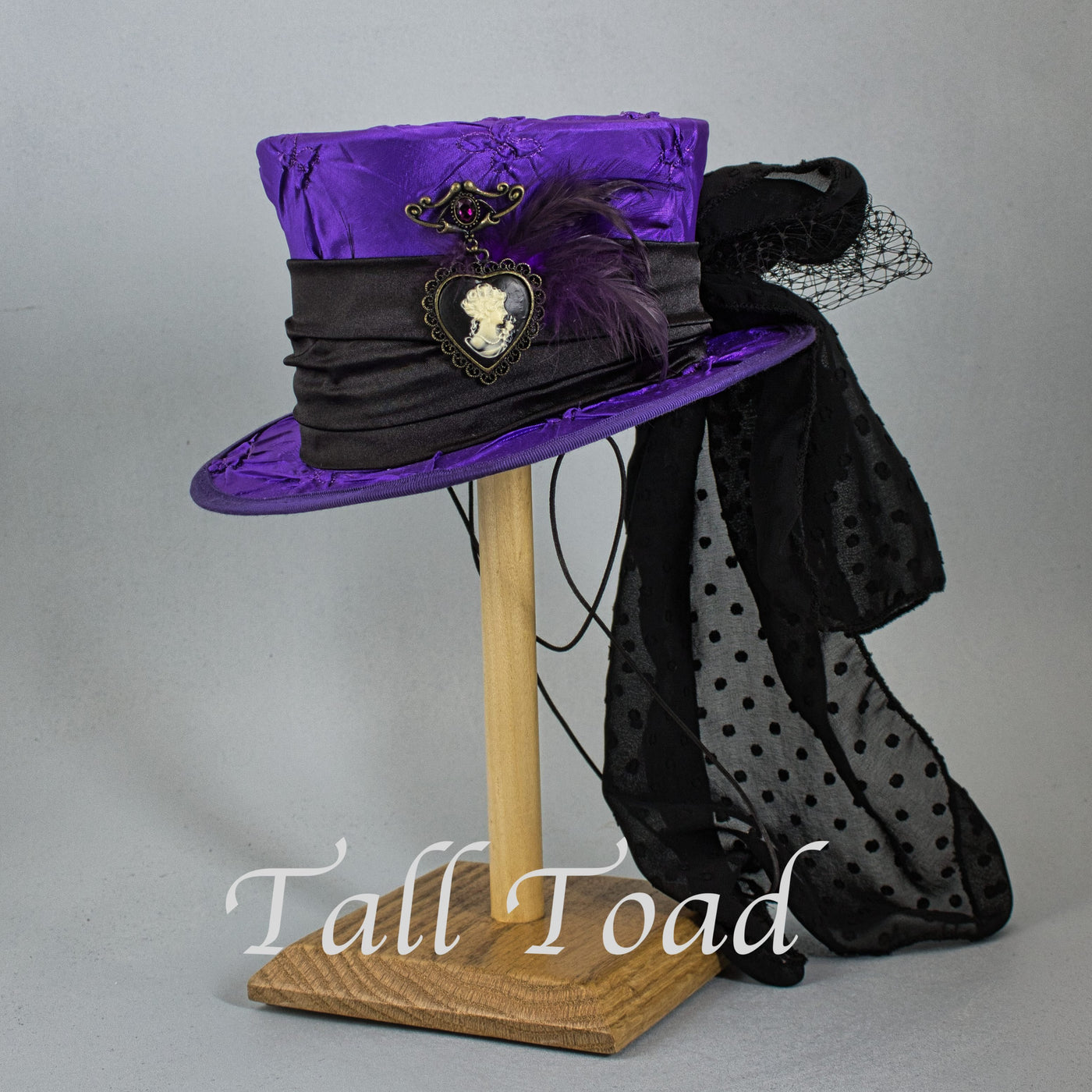 Mini Top Hat - Purple Tufted Taffeta - Tall Toad