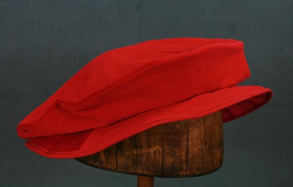 Cotton Velveteen Flat Cap - Red - Tall Toad