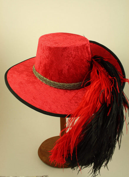 Crushed Velvet Cavalier - Red / Antique Gold / Red and Black Feathers - Tall Toad