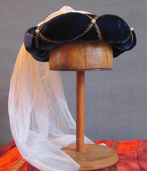 Veiled Roundlet - Blue / Gold Trim / White Veil / Pearls - Tall Toad