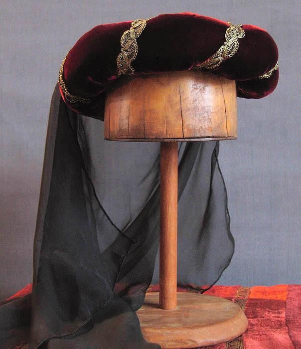 Veiled Roundlet - Ruby Wine / Gold Trim / Black Veil - Tall Toad