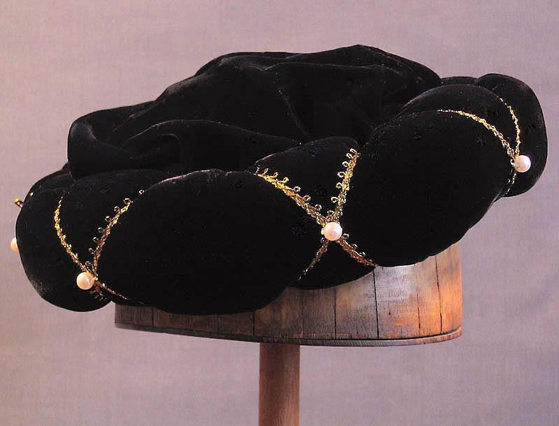Roundlet - Black / Gold Trim / Pearls - Tall Toad