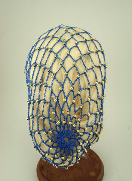 Hand Crocheted Snood - Blue / Gold Beads - Tall Toad