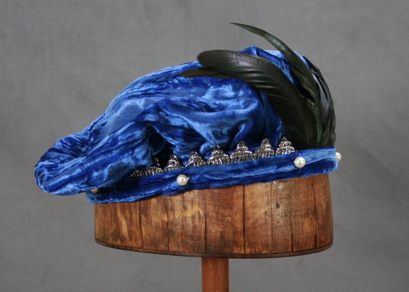 Pearled Willoughby Beret - Royal Blue / Silver - Tall Toad
