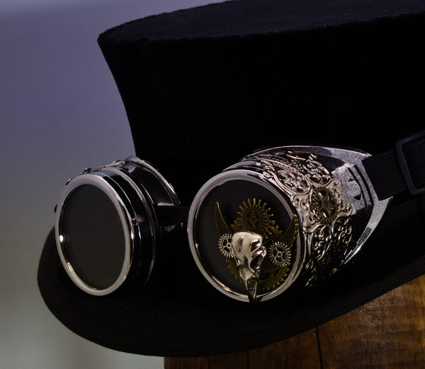 Steampunk Goggles - Silver Bronze Plague Doctor - Tall Toad