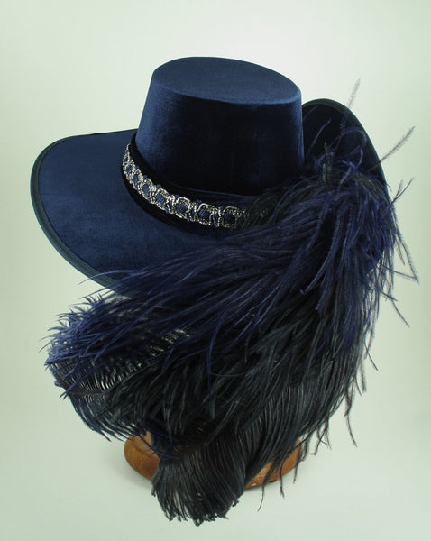 Smooth Velvet Cavalier - Blue / Black Silver / Blue Feathers - Tall Toad