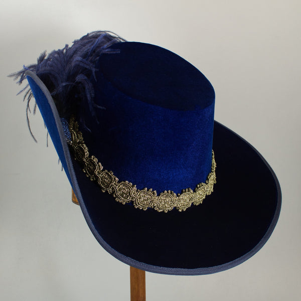 Smooth Velvet Cavalier - Blue / Gold / Blue Feathers - Tall Toad